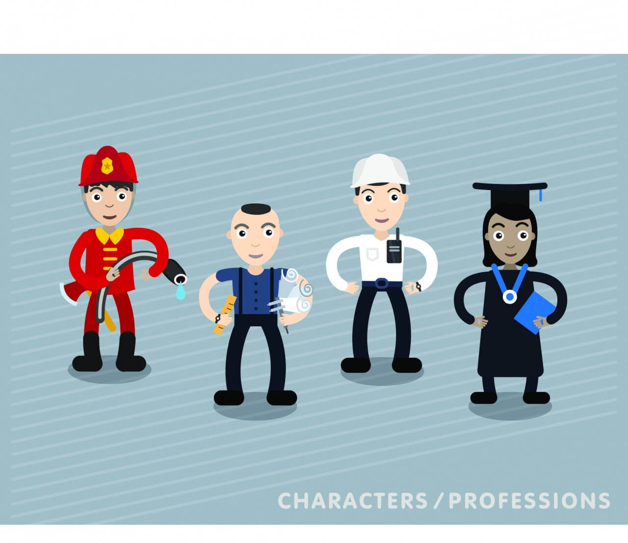 "Free vector ""Vector characters in different professions"""