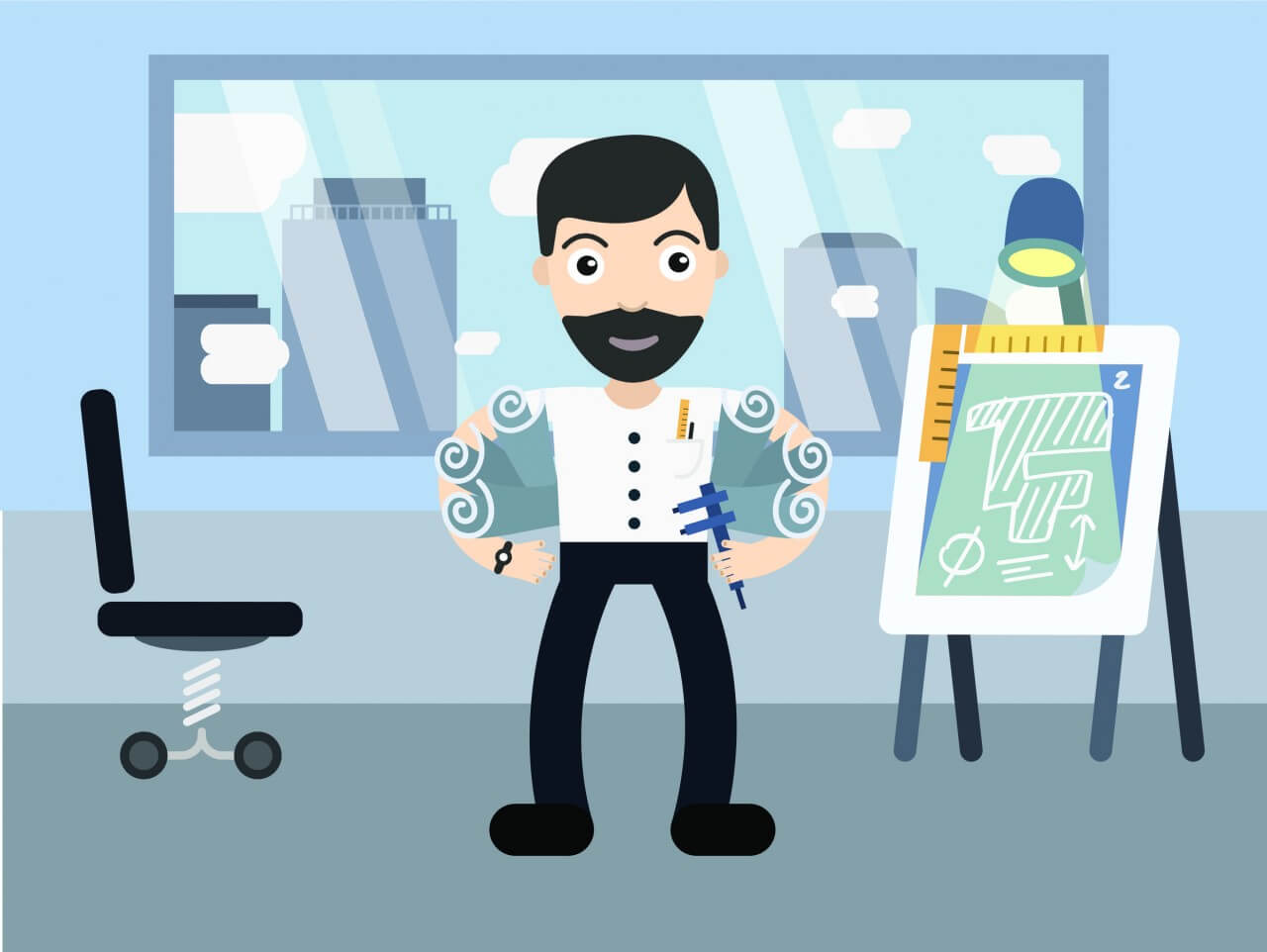 "Free vector ""Architect profession vector character illustration"""