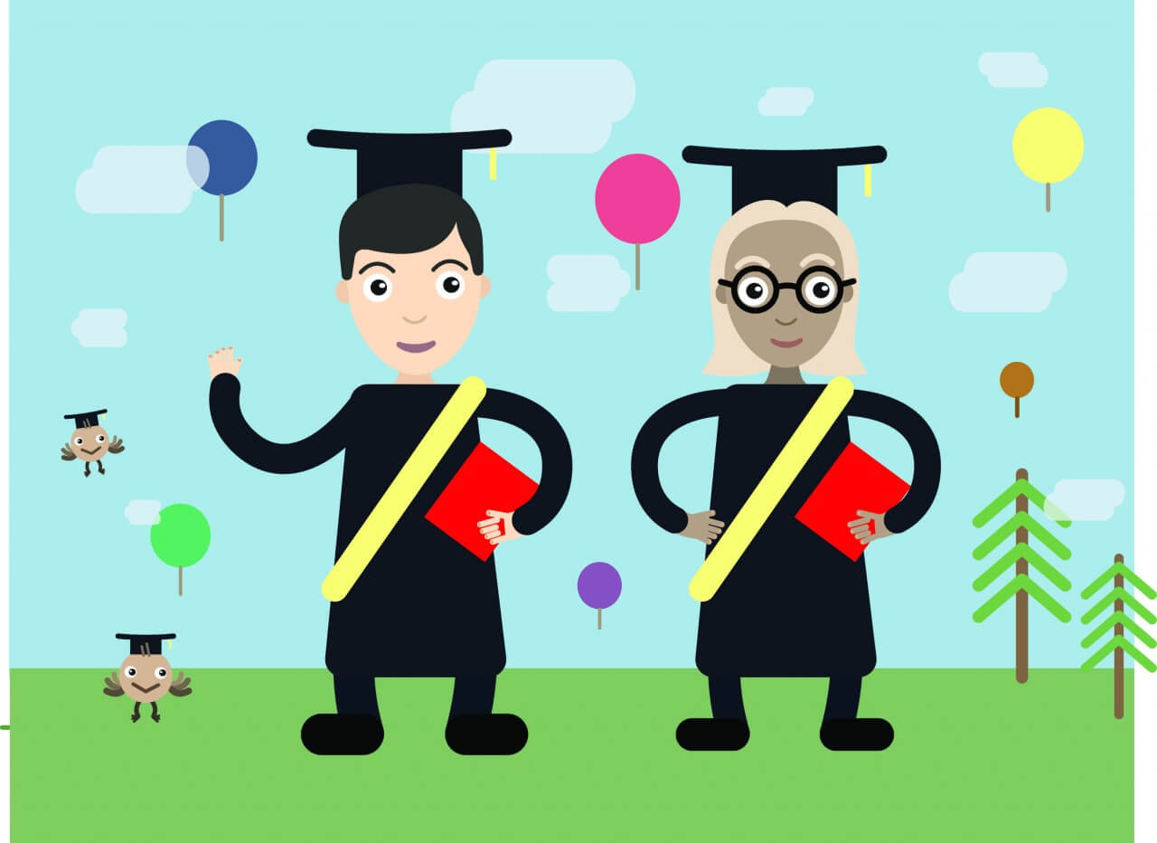 "Free vector ""Two students vector character illustration"""