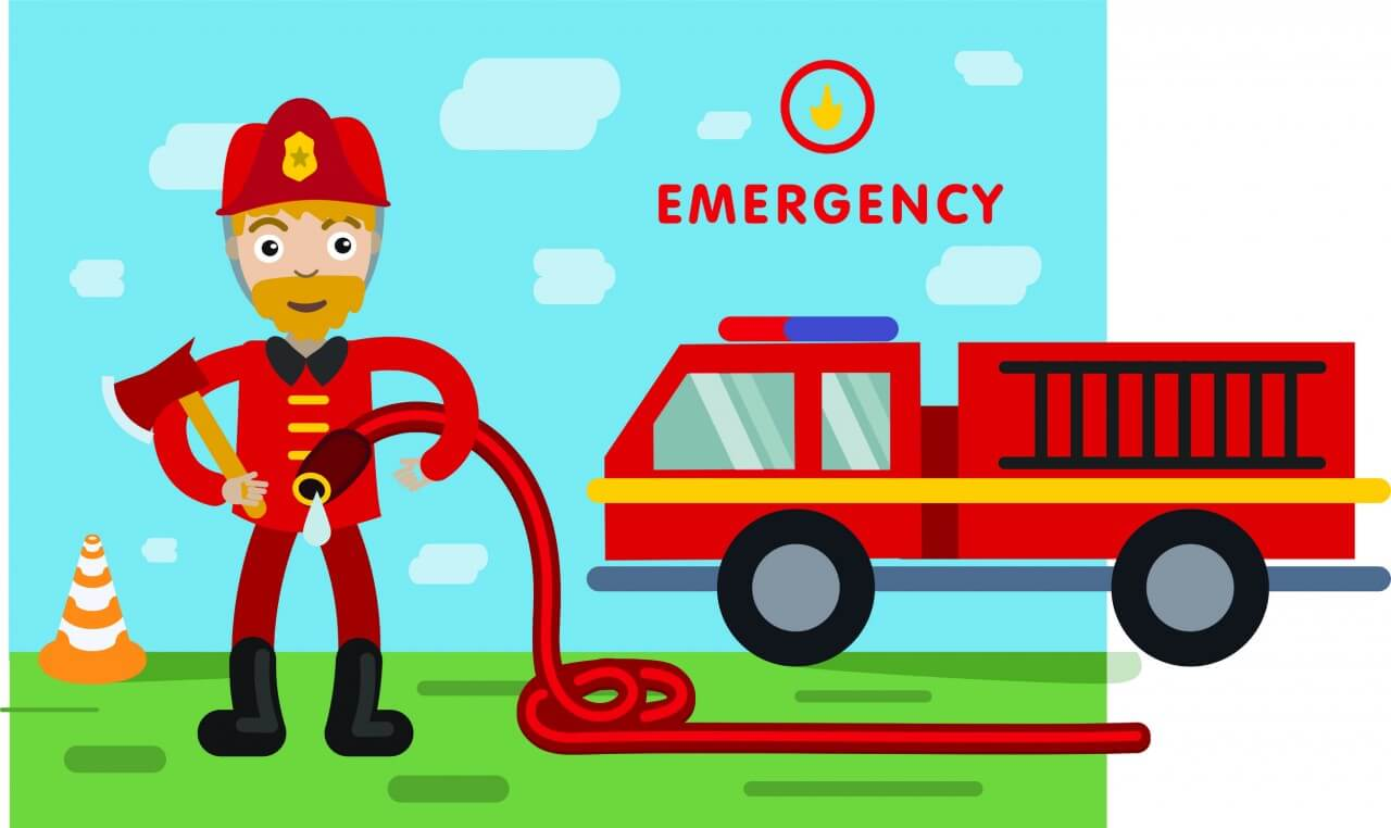 "Free vector ""Fireman profession vector character illustration"""