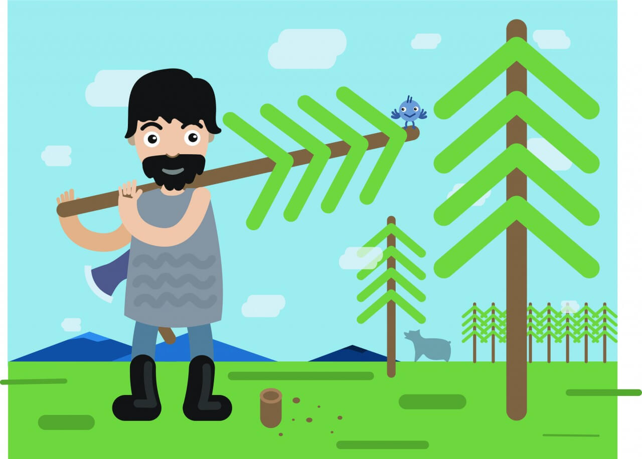 "Free vector ""Lumberman profession vector character illustration"""