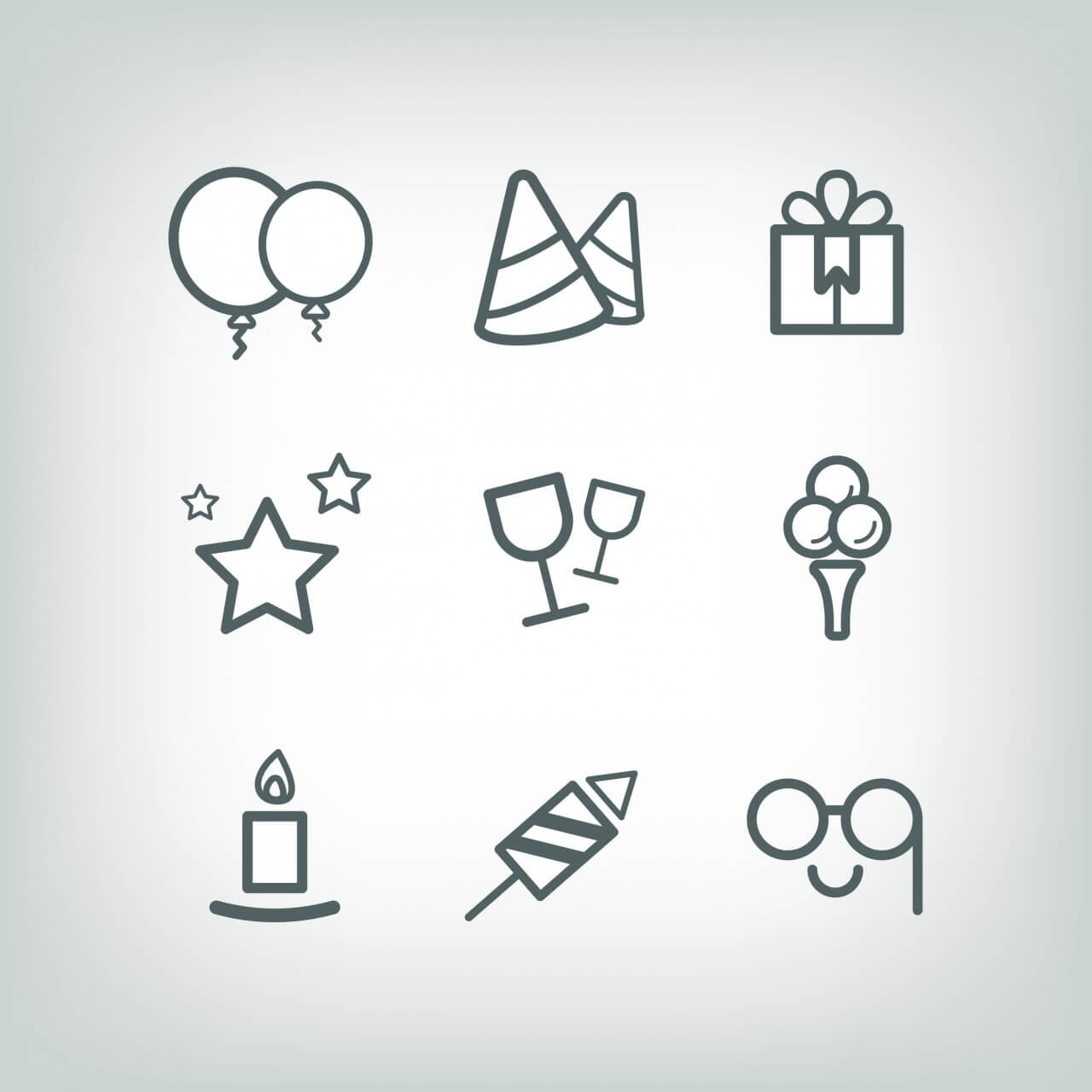 "Free vector ""Vector icons for birhday or wedding design"""