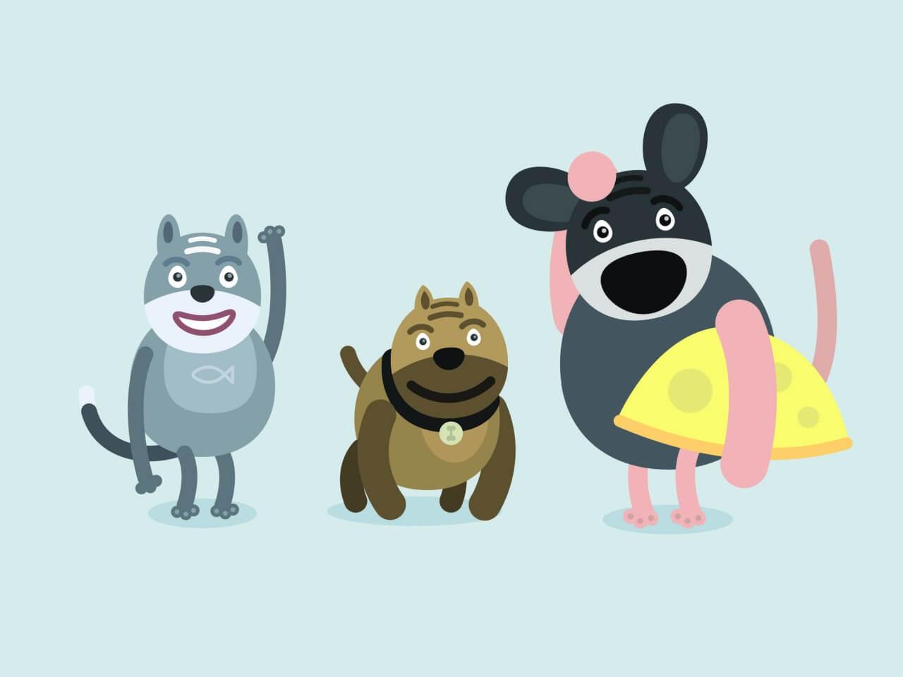 "Free vector ""Vector cartoon characters illustration"""
