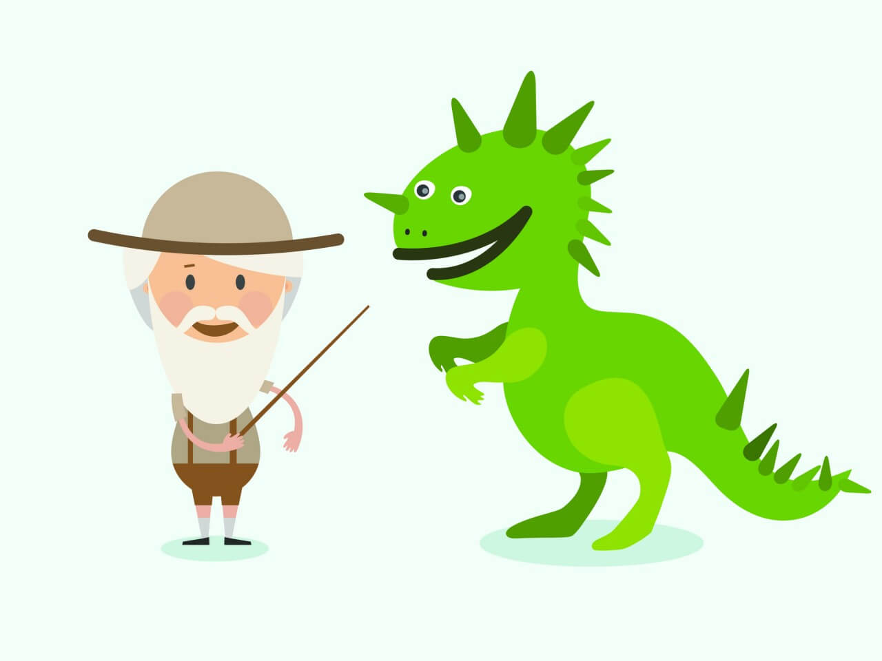 "Free vector ""Vector cartoon dinosaur and men characters illustration"""