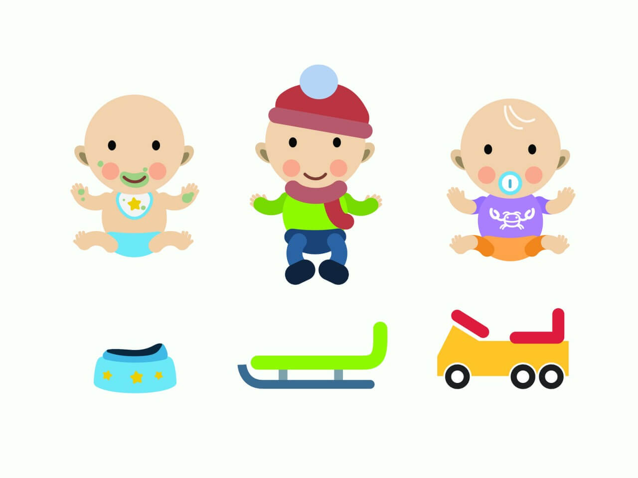 "Free vector ""Vector cartoon baby characters illustration"""