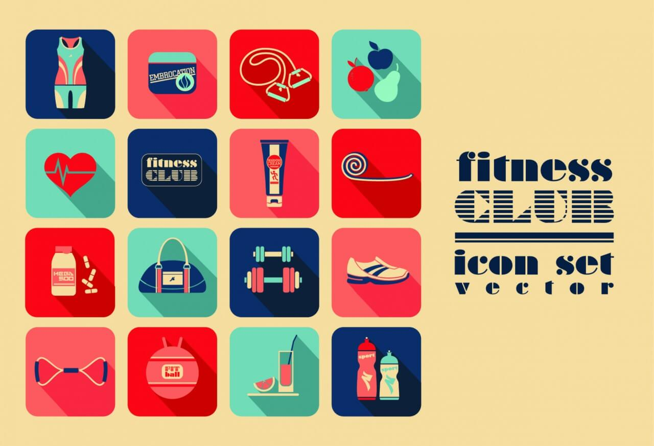"Free vector ""Fitness Icons set"""