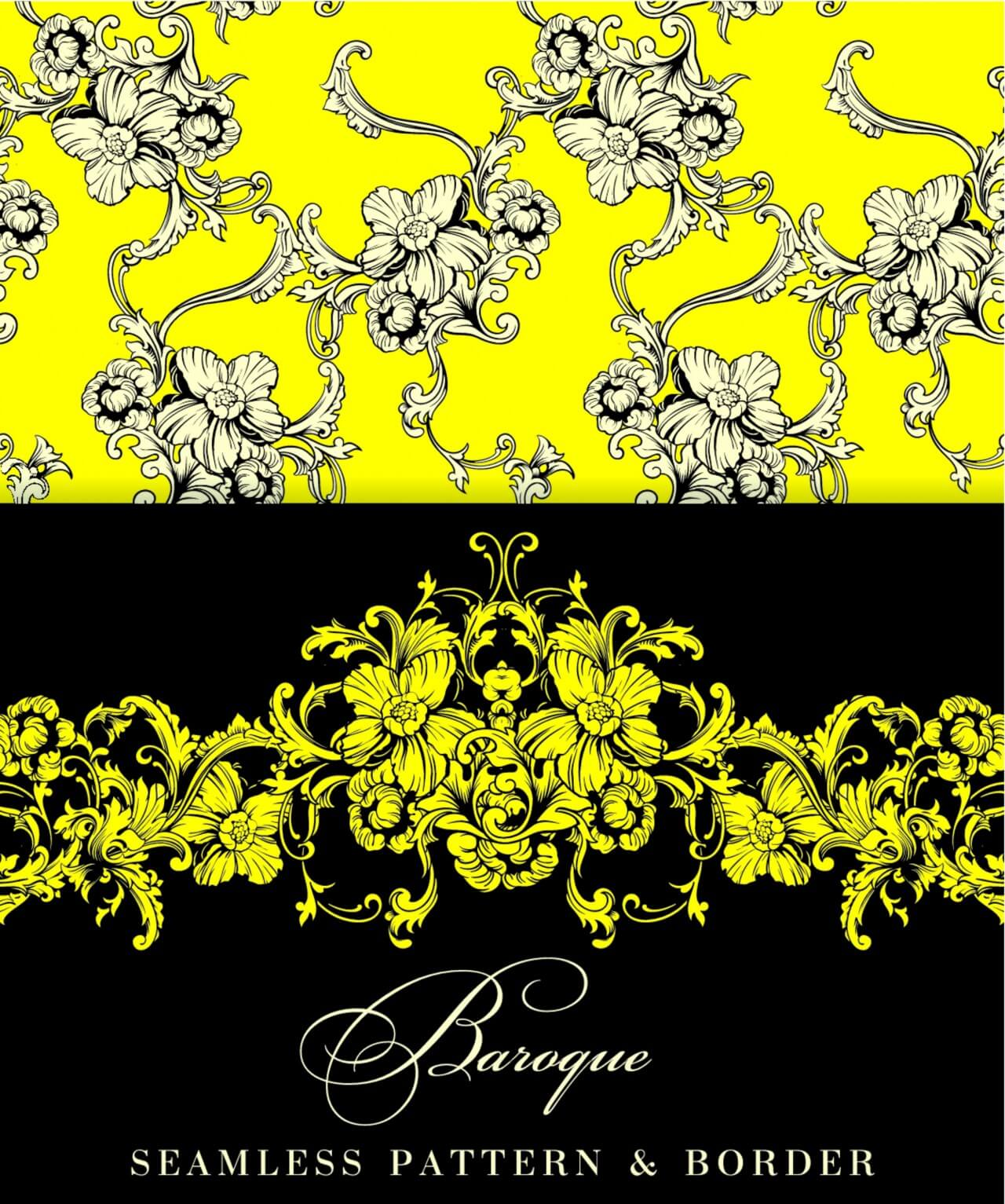 "Free vector ""Seamless vector background. Baroque pattern and border."""