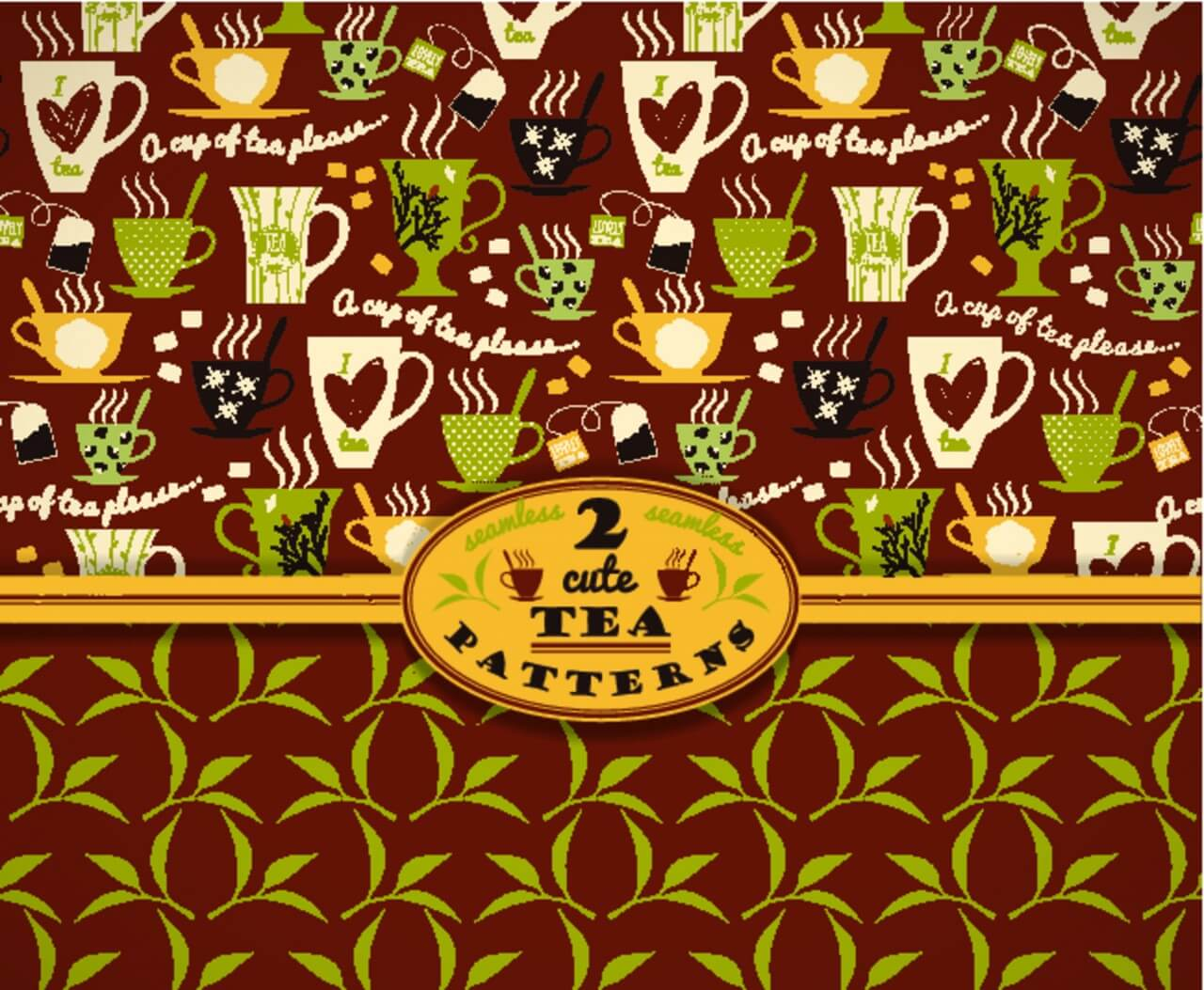 "Free vector ""Tea background. Vector seamless pattern. """