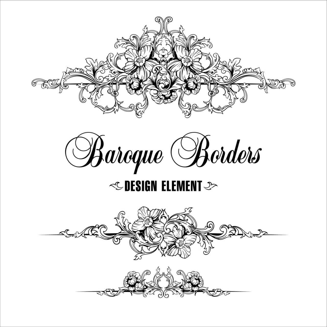 "Free vector ""Ornamental border. Baroque pattern. """