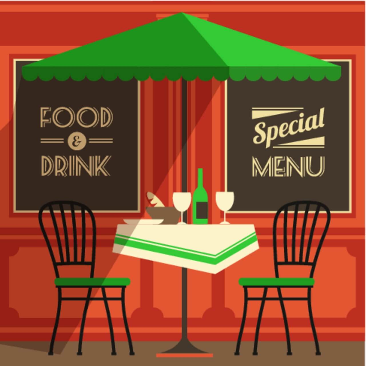 "Free vector ""Illustration of street cafe"""