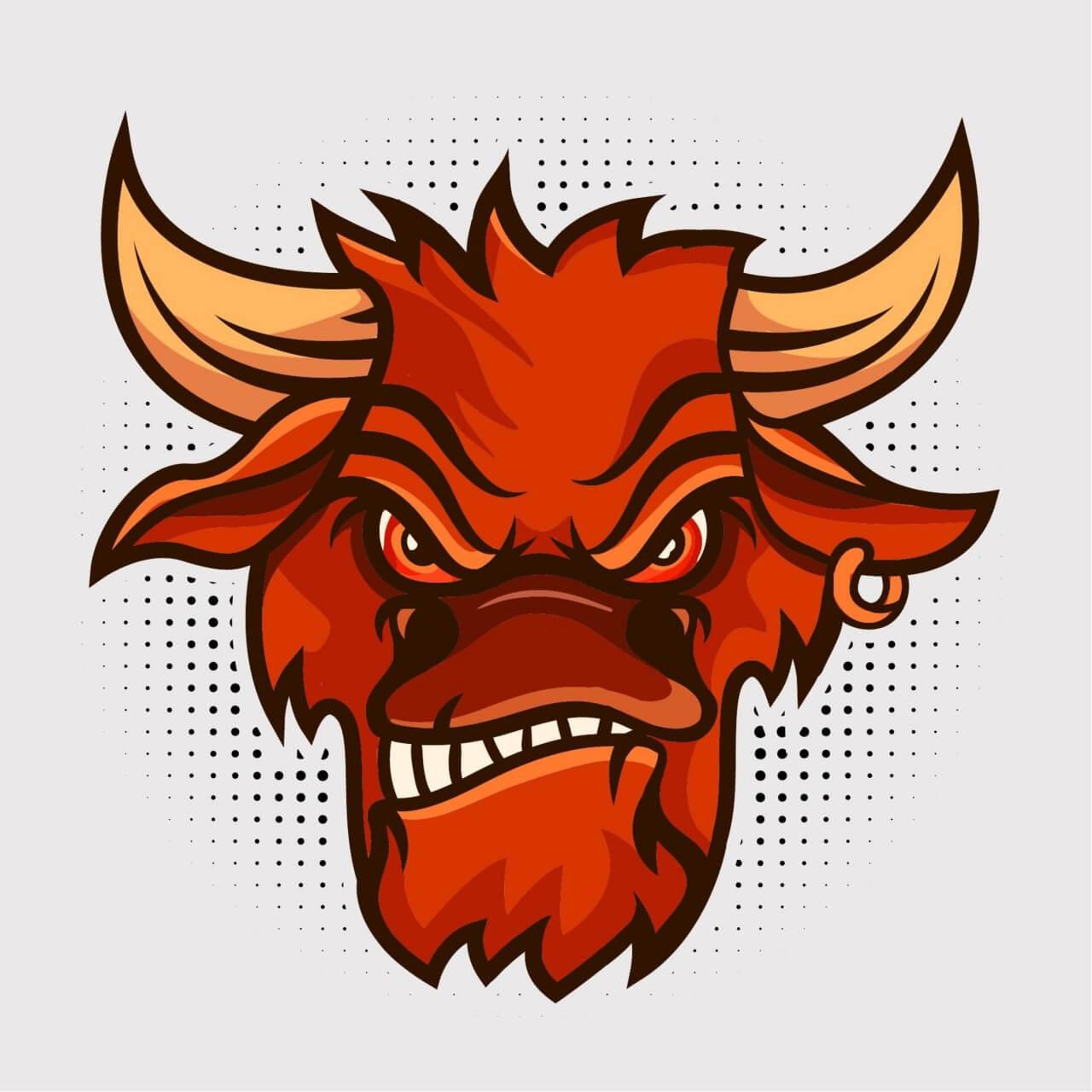 "Free vector ""Bull vector mascot"""