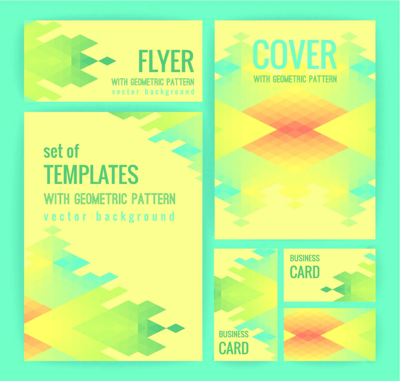 "Free vector ""Set of business templates with geometric pattern. Vector background."""