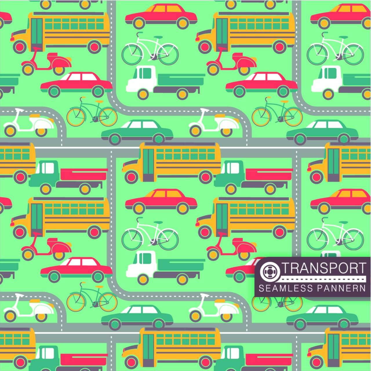 "Free vector ""City transport seamless pattern"""