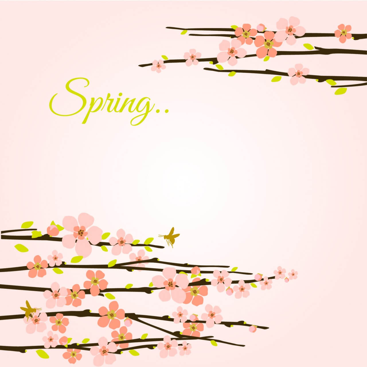 "Free vector ""Vector spring background with flowering branches."""