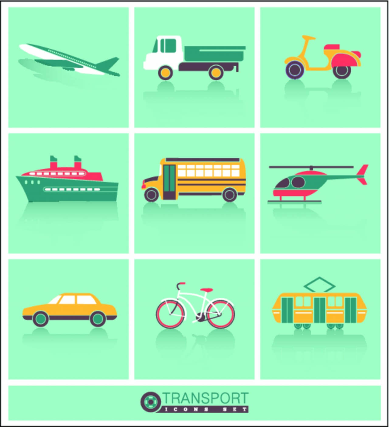 "Free vector ""Transportation icons set"""