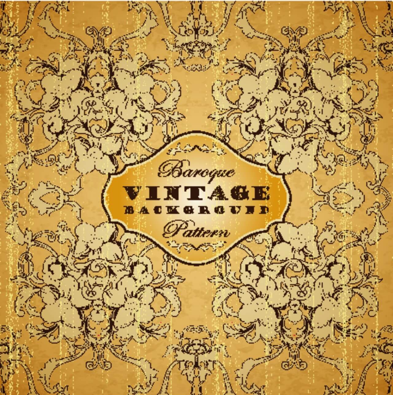 "Free vector ""Vintage background with baroque pattern"""