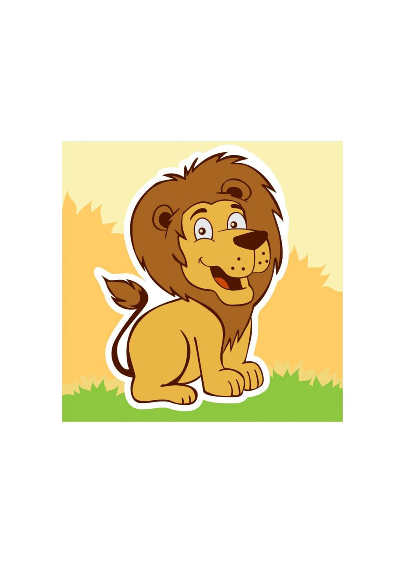 "Free vector ""Smiling lion"""