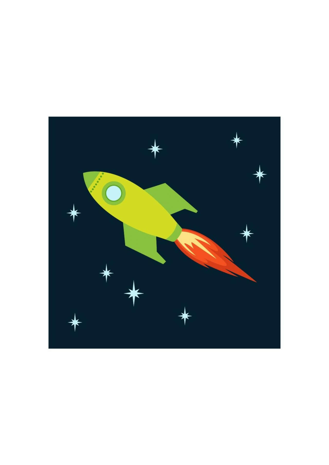 """Free vector """"Rocket flying into space"""""""