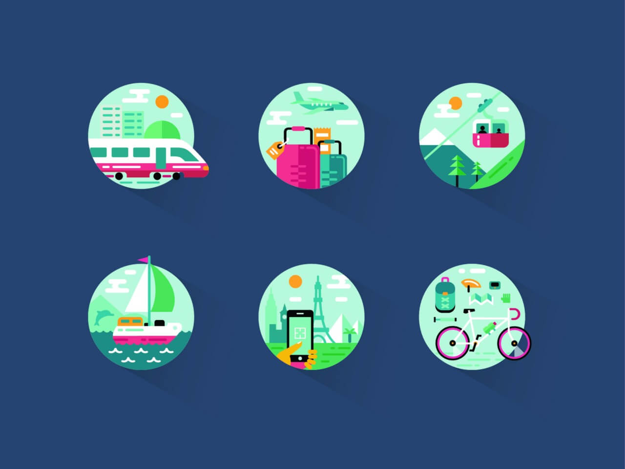 """Free vector """"Travel icon pack"""""""