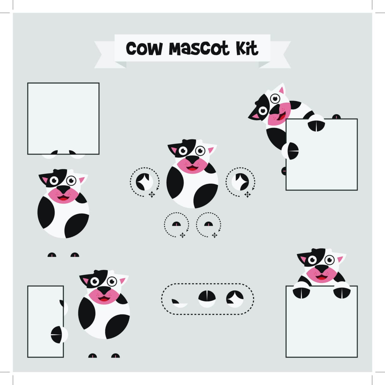 "Free vector ""Cow mascot"""