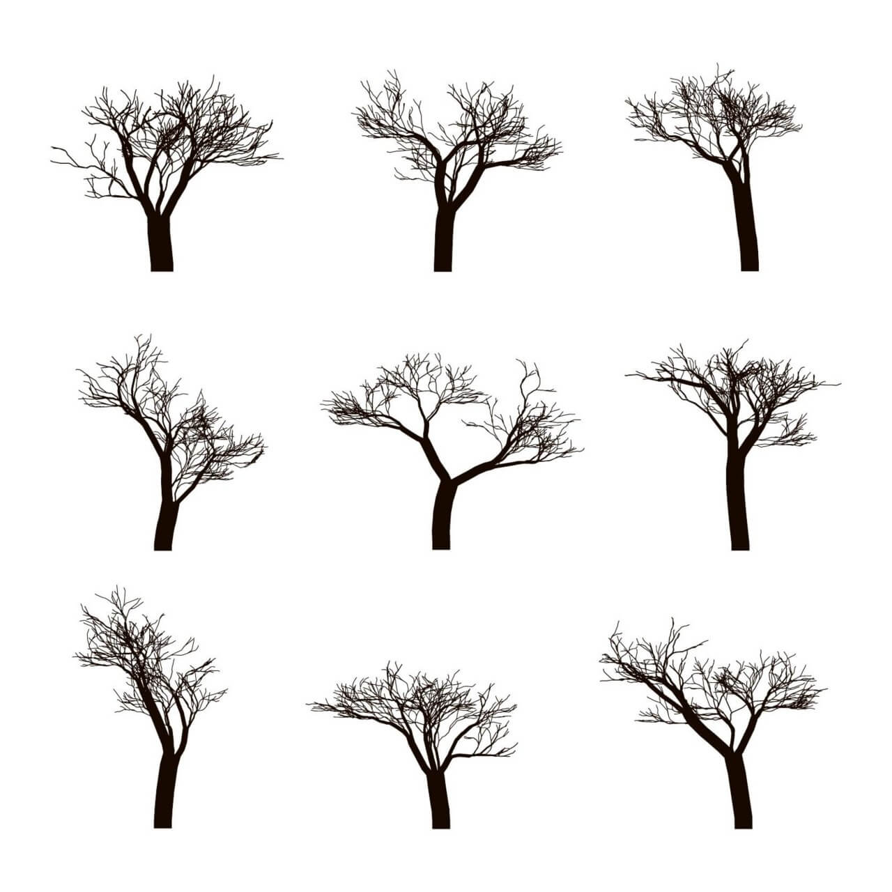"Free vector ""Dead trees Silhouettes"""