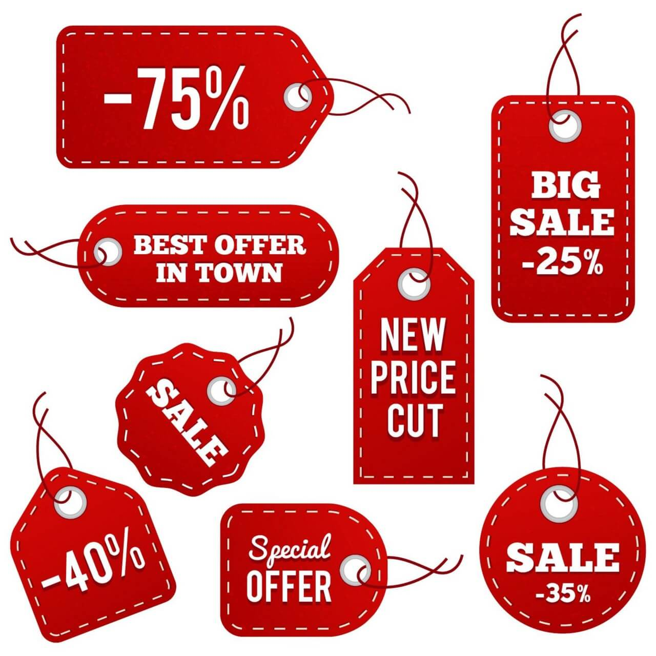 "Free vector ""Red Leather Price Tags"""