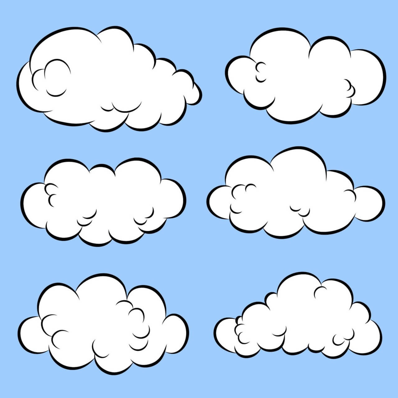 "Free vector ""Comic Book Clouds"""