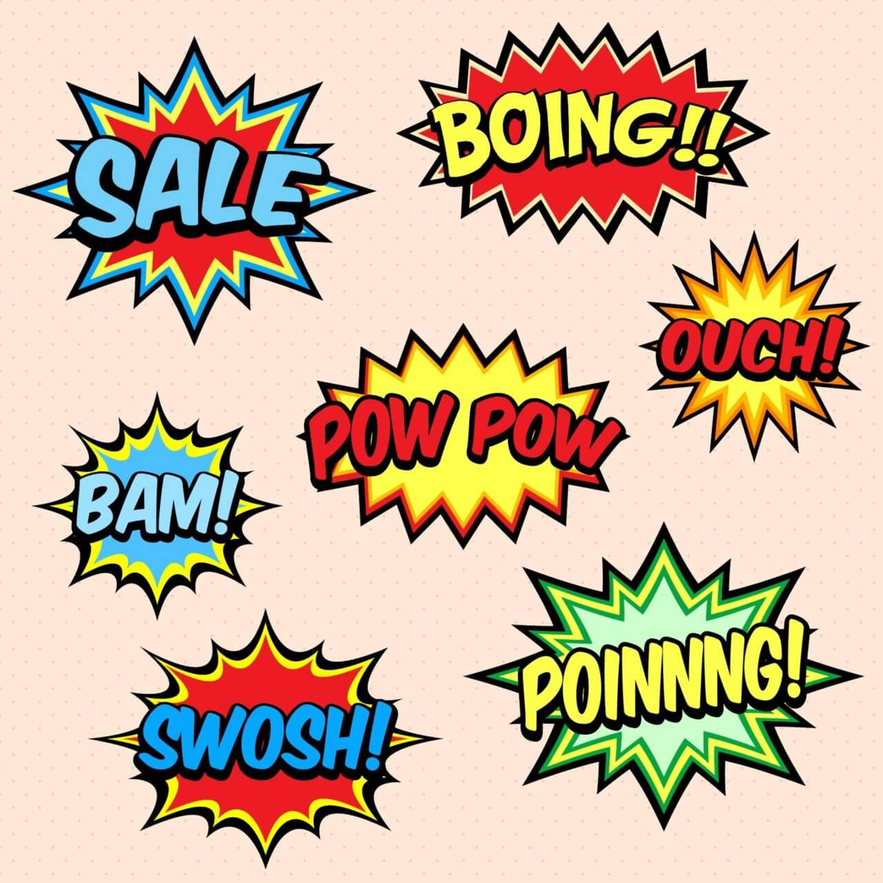 "Free vector ""Comic Book Words"""