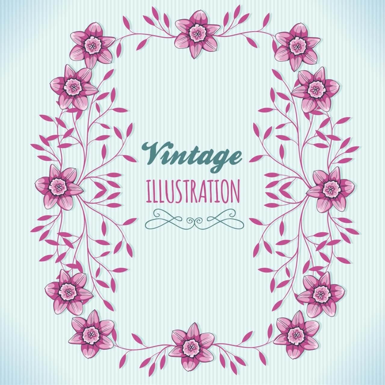 """Free vector """"Vintage floral illustration with frame"""""""