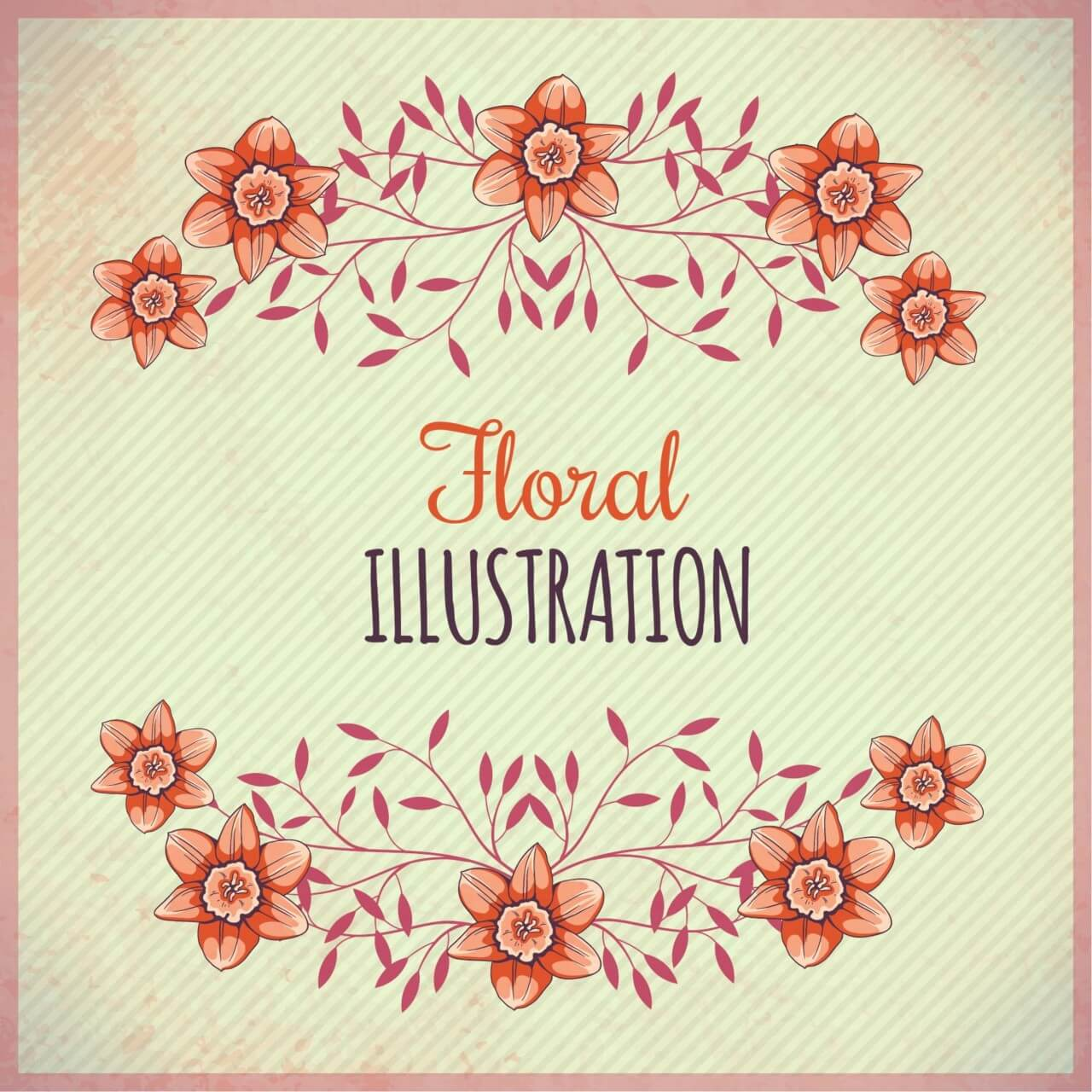 "Free vector ""Vintage illustration with flowers and typography"""