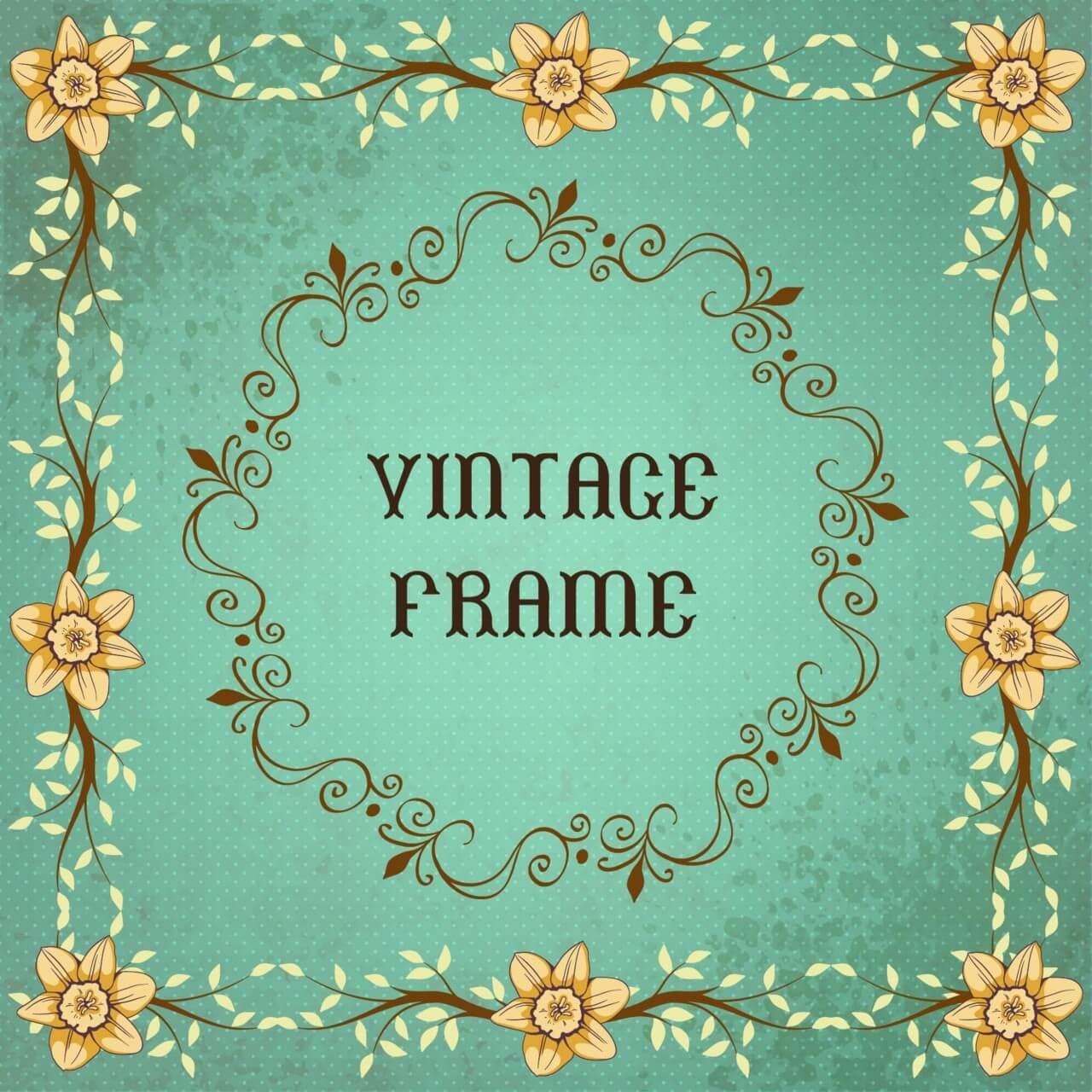 """Free vector """"Vintage floral illustration with frame """""""