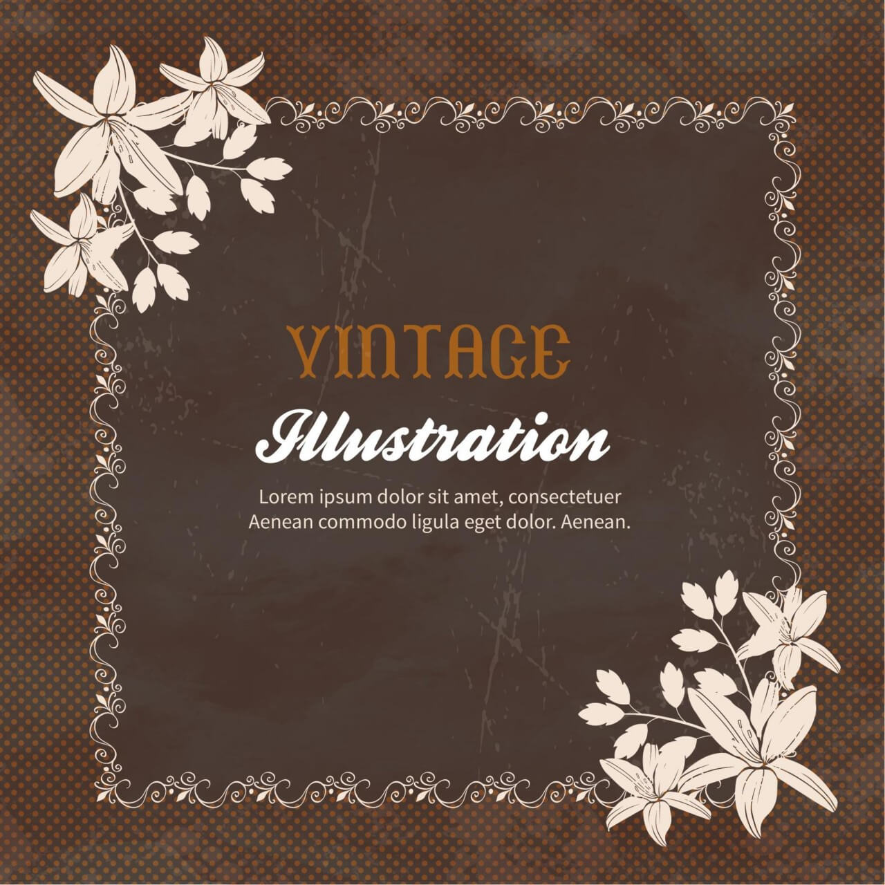 """Free vector """"Vintage flowers with frame """""""