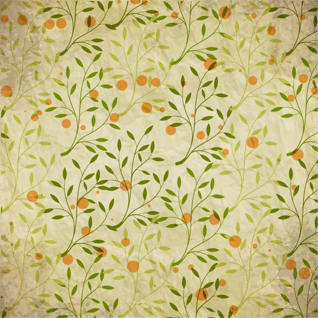 "Free vector ""Vintage pattern with branches, leaves and dots"""