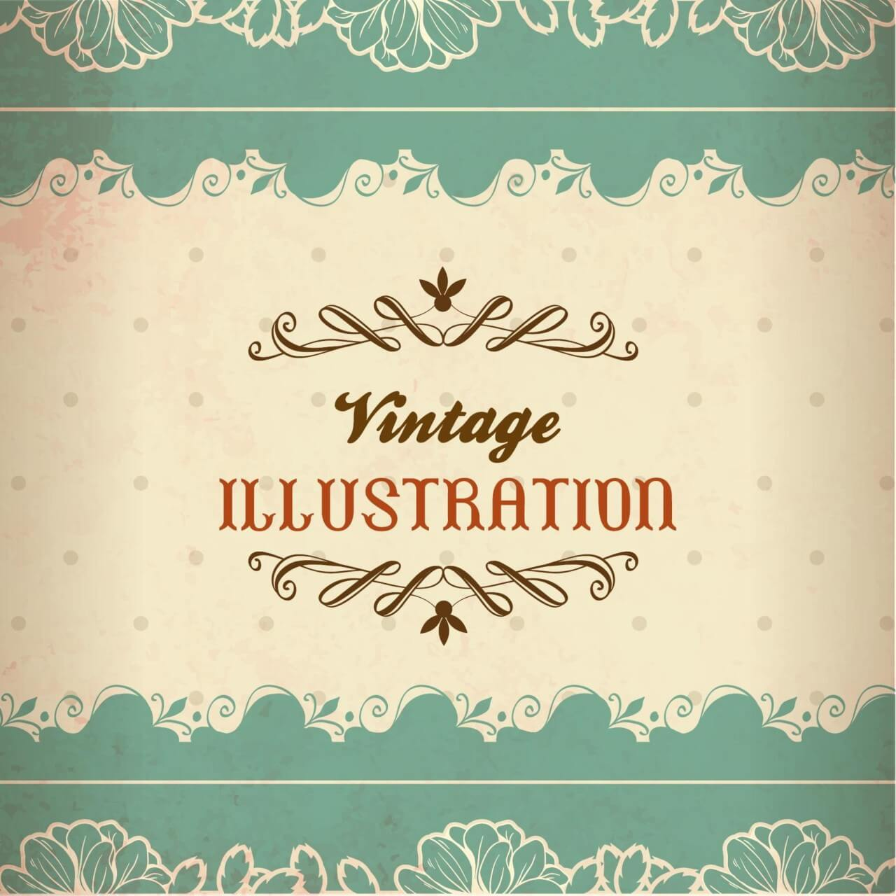 """Free vector """"Vintage illustration with lace, flowers and typography"""""""