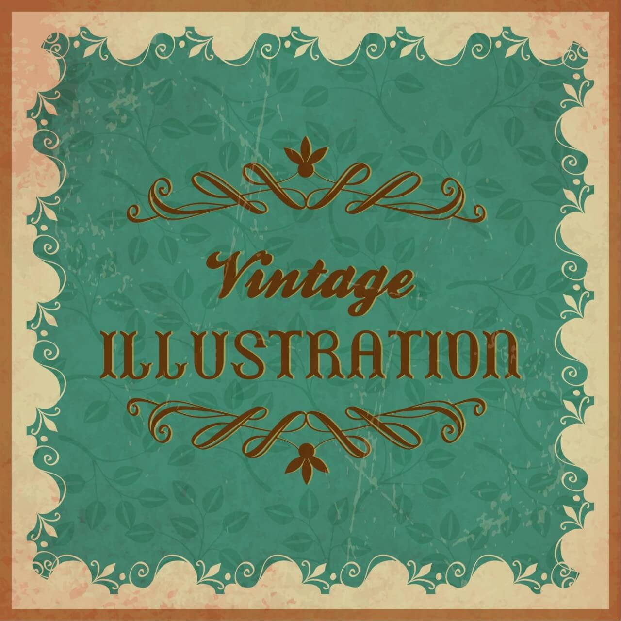 "Free vector ""Vintage floral illustration with frame,ornament and typography"""