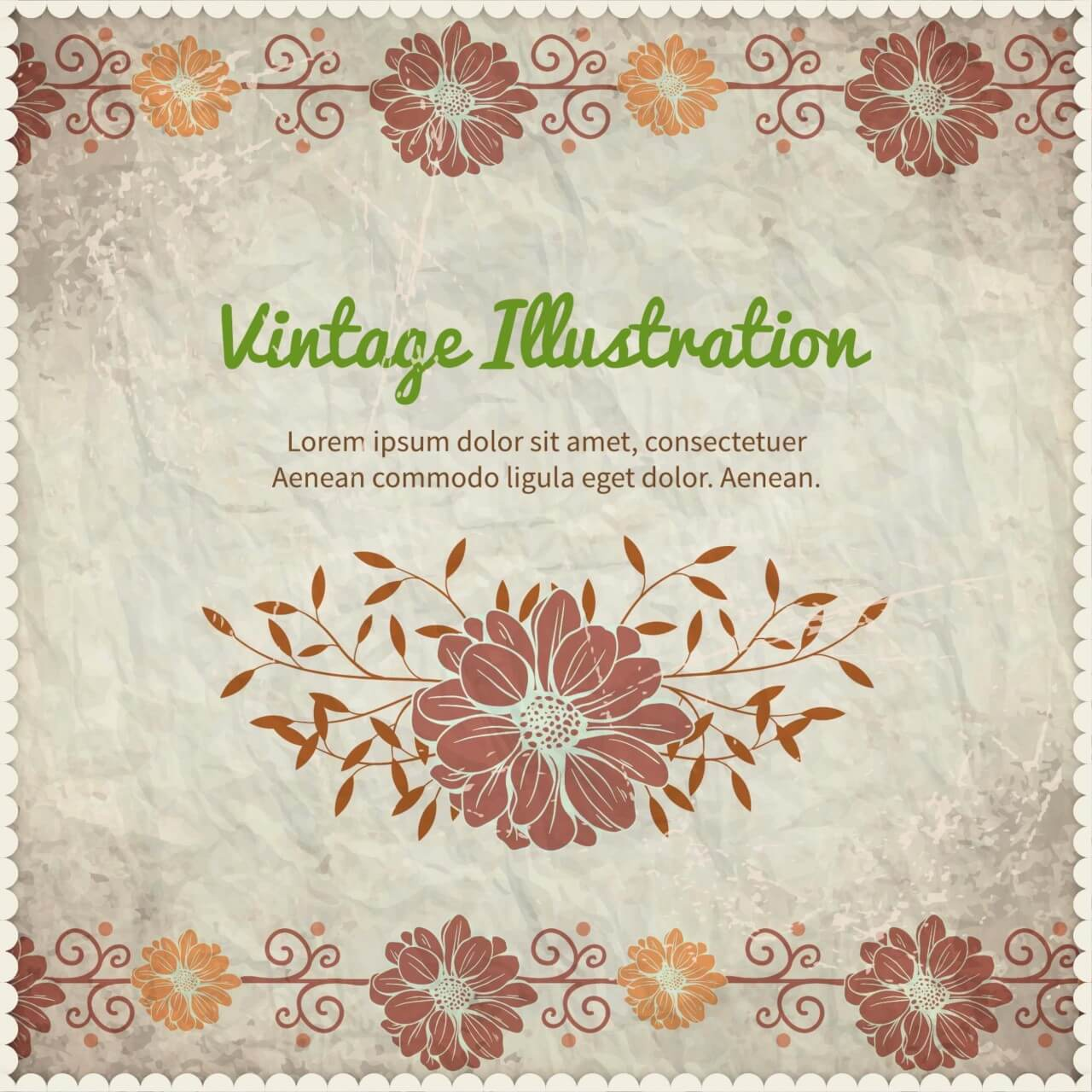 "Free vector ""Vintage floral illustration with frame,typography and paper texture"""