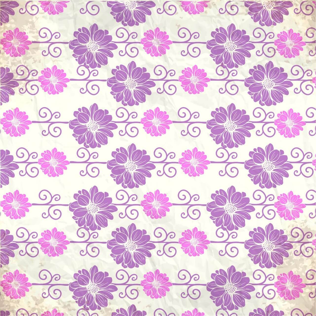 """Free vector """"Vintage pattern with flowers"""""""