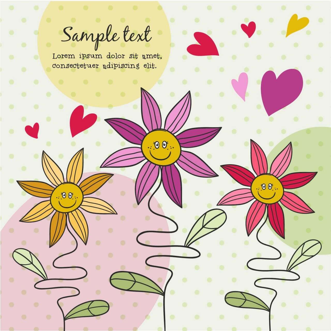 """Free vector """"Doodle illustration with cute flowers"""""""