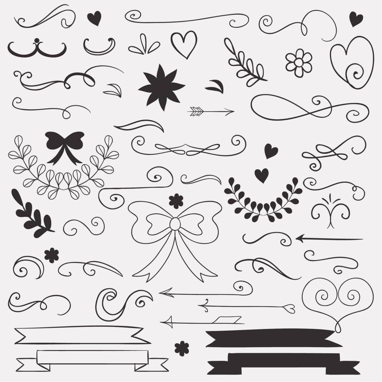 "Free vector ""Set of doodle decorations"""