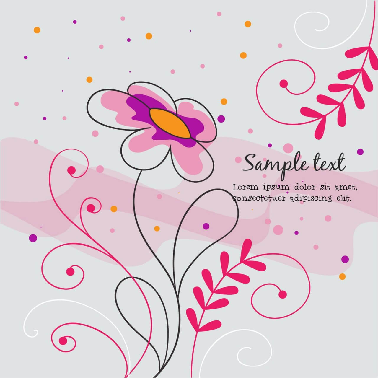 "Free vector ""Vector illustration with doodle flowers"""