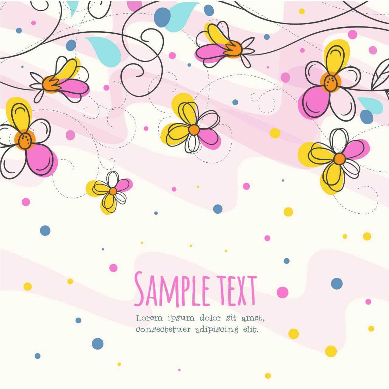 """Free vector """"Vector illustration with doodle flowers"""""""