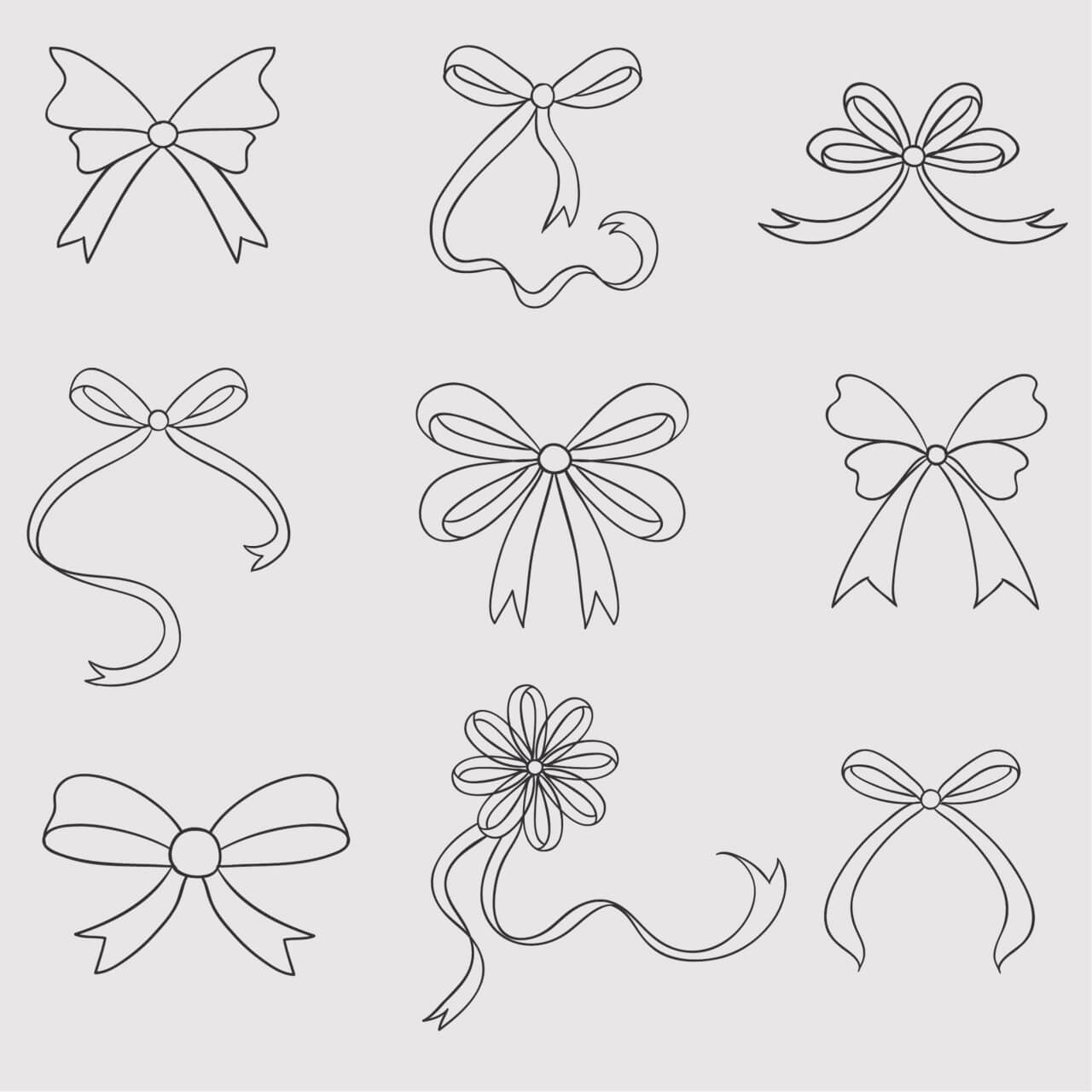 "Free vector ""Vintage vector set of handdrawn bows"""