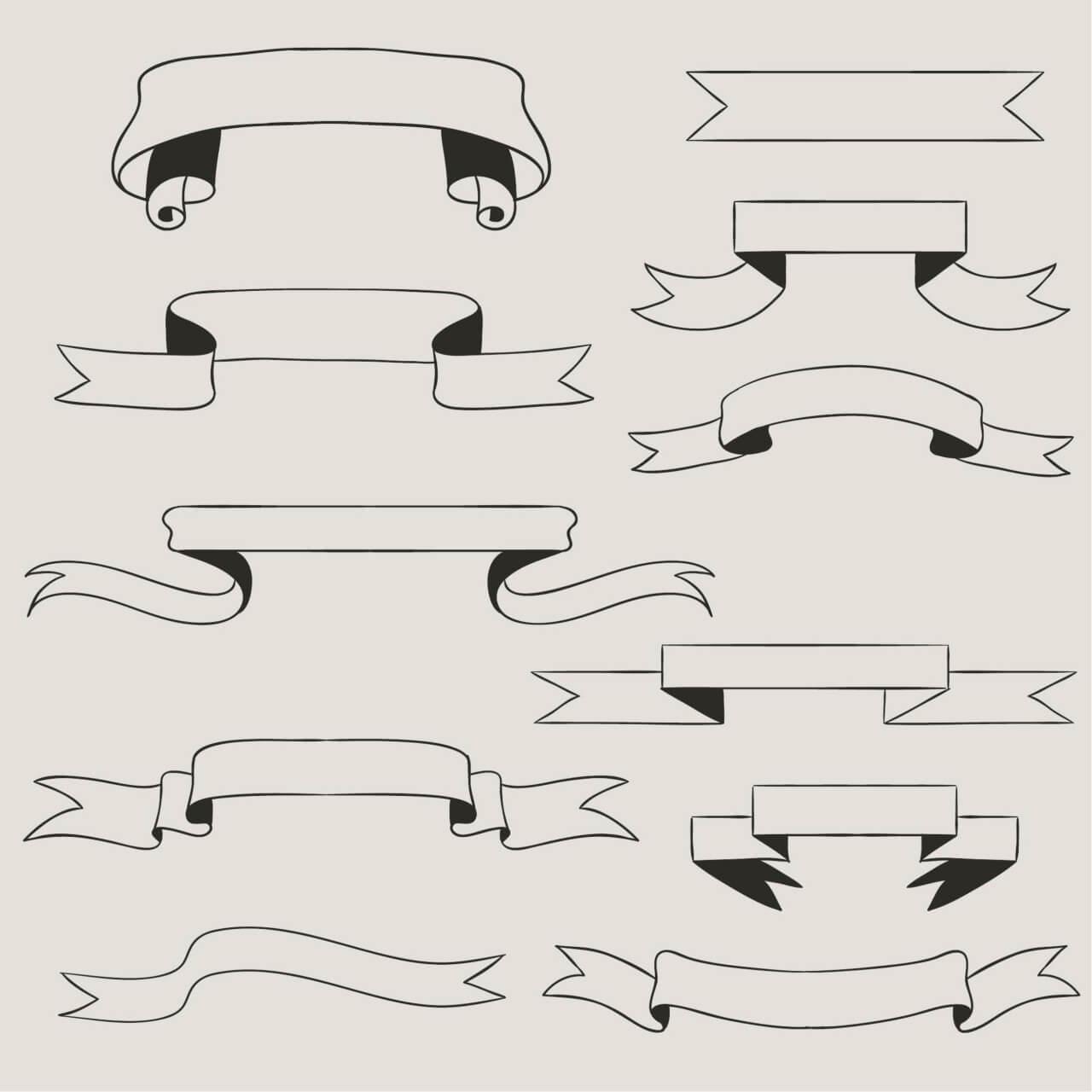 "Free vector ""Vintage vector set of handdrawn ribbons"""