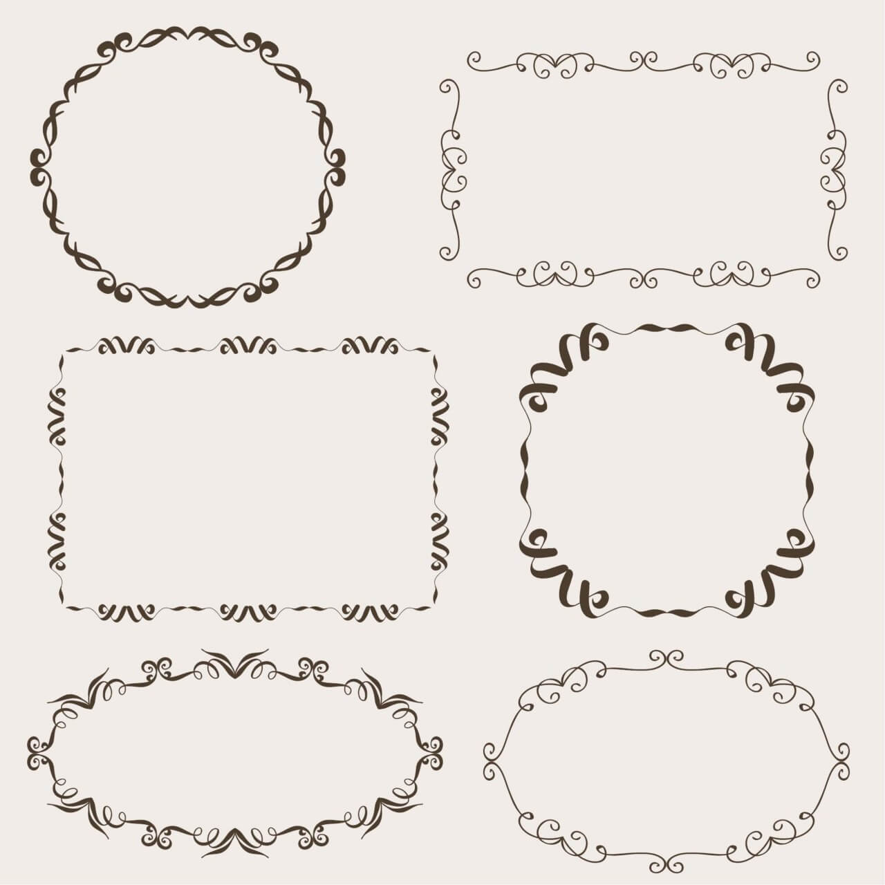 "Free vector ""Vintage vector set of ornamental frames"""