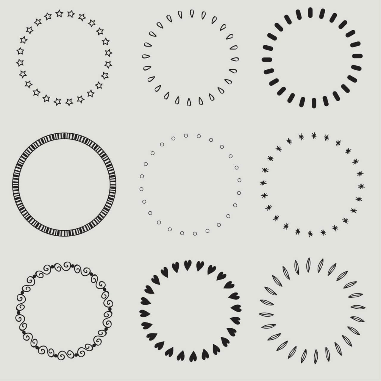 "Free vector ""Vintage vector set of calligraphic circles"""