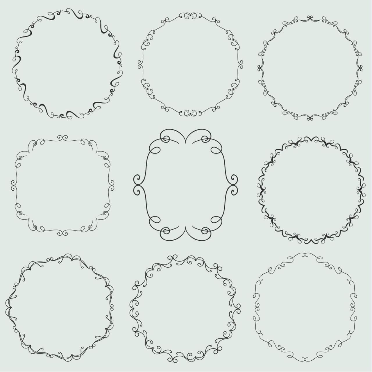 """Free vector """"Vintage vector set of ornamental frames"""""""