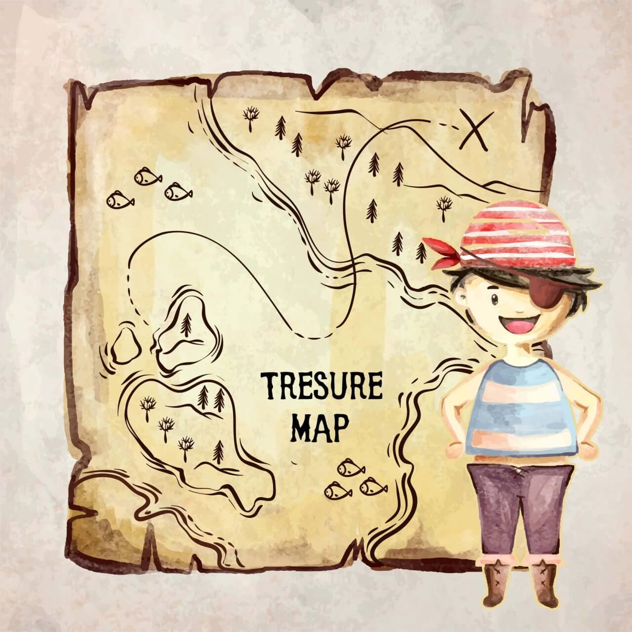 """Free vector """"Treasure pirate map"""""""