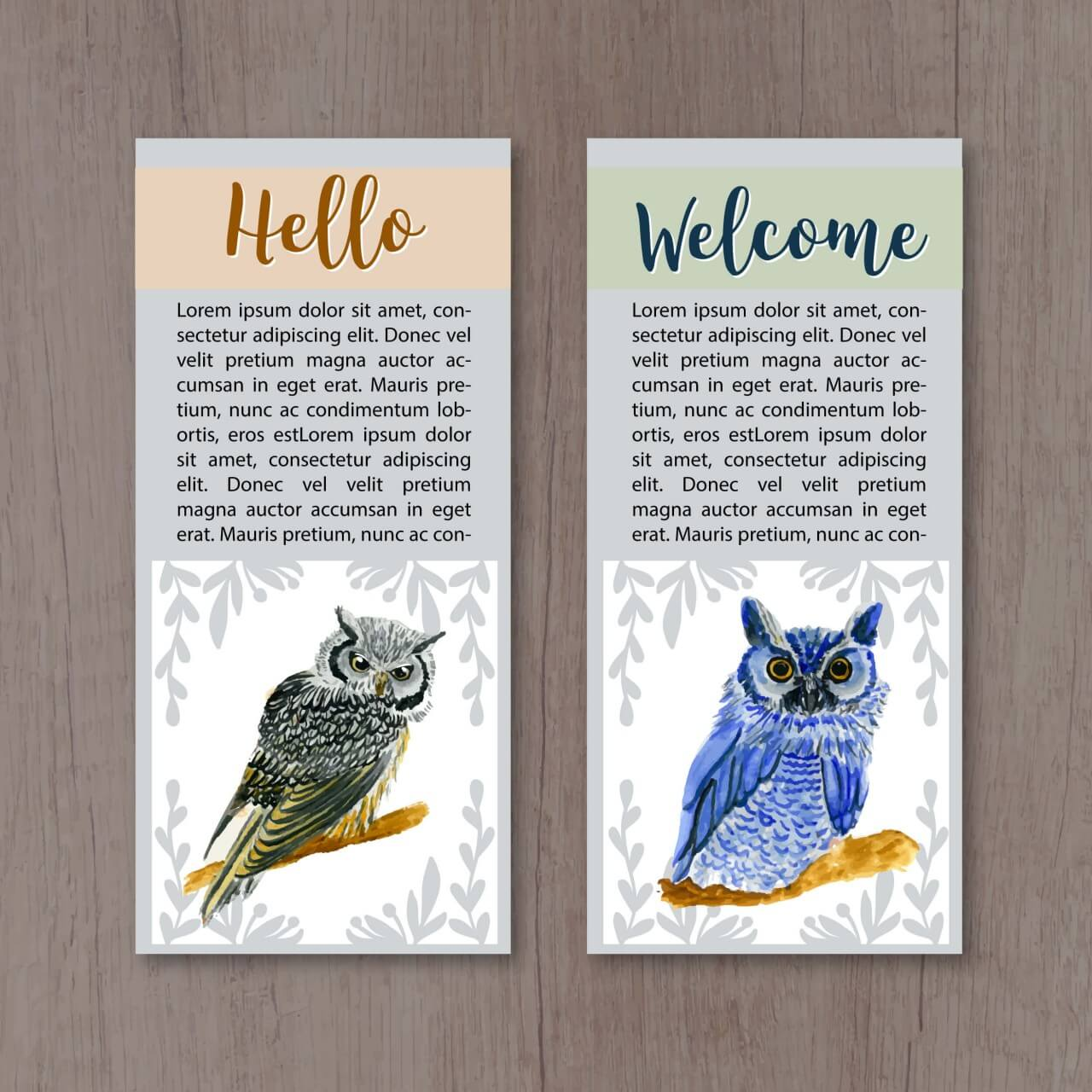 """Free vector """"Watercolor owl cards"""""""