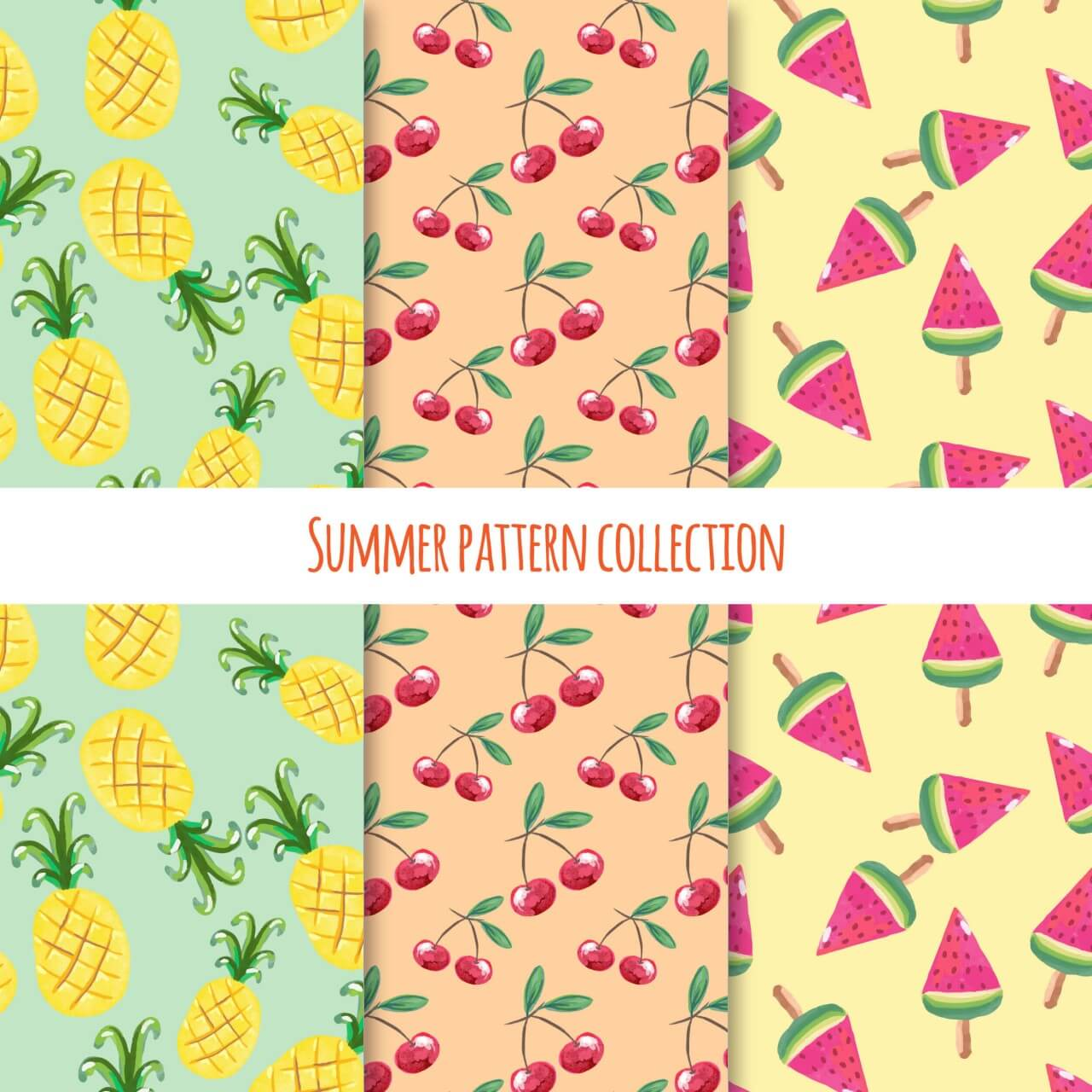 """Free vector """"Summer fruits and ice cream pattern collection"""""""