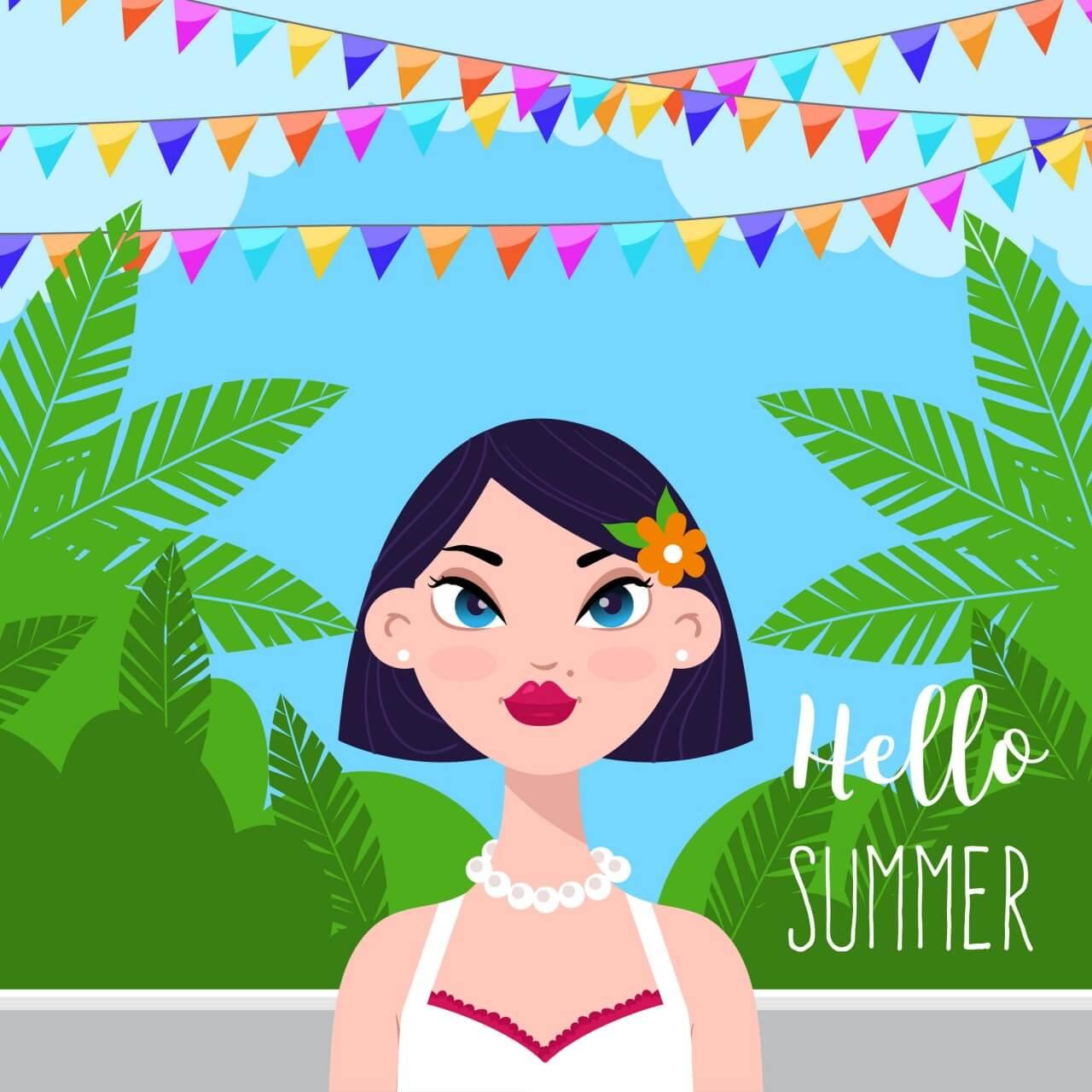 "Free vector ""Summer garden with girl"""